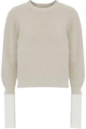 HELMUT LANG Wool-paneled cotton-blend sweater