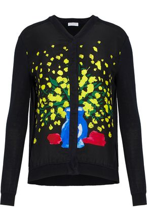 VIONNET Printed silk and cotton blend-paneled knitted cardigan
