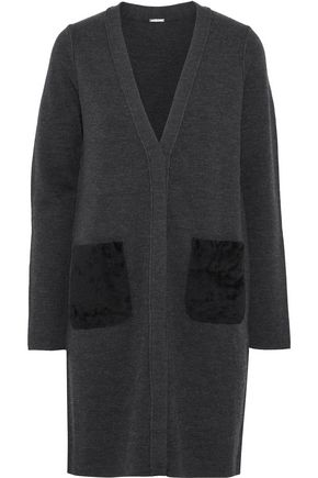 ELIE TAHARI Shearling-trimmed brushed merino wool cardigan