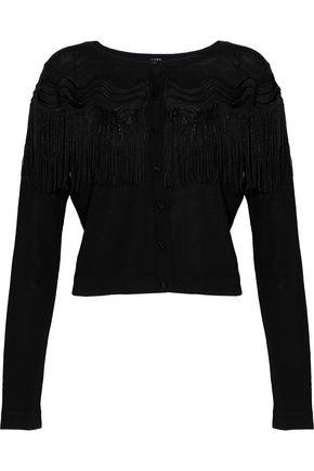 ELIE TAHARI Finelle cropped fringe-trimmed merino wool cardigan