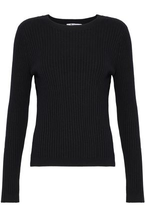 T by ALEXANDER WANG Ribbed-knit merino wool-blend top
