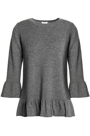 MADELEINE THOMPSON Mélange wool and cashmere-blend peplum top