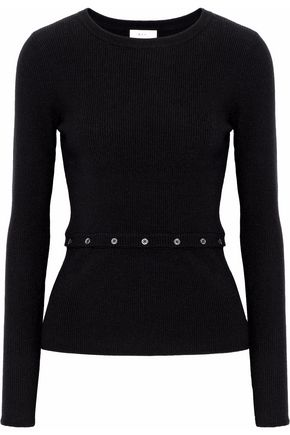 A.L.C. Button-detailed ribbed stretch-wool top
