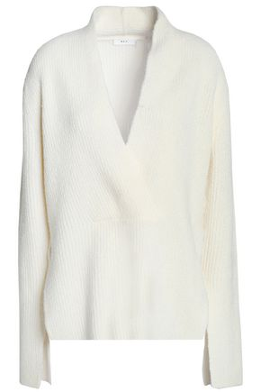 A.L.C. Wrap-effect ribbed wool and silk-blend sweater