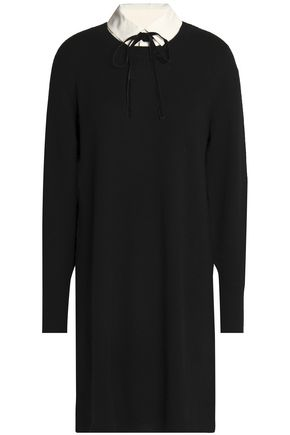 JOIE Gittan pussy-bow poplin-trimmed wool and cashmere-blend mini dress