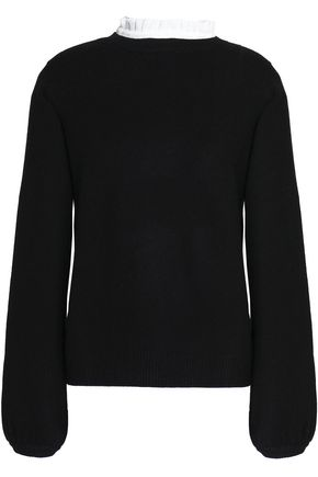 JOIE Affie ruffle-trimmed wool and cashmere-blend sweater