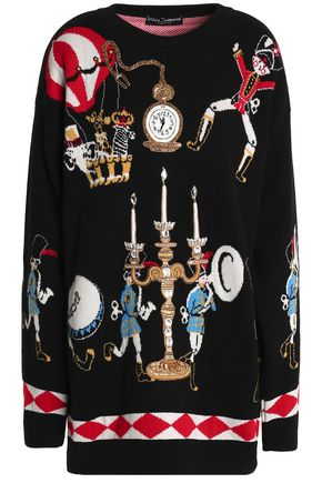 DOLCE & GABBANA Embellished jacquard-knit cashmere sweater