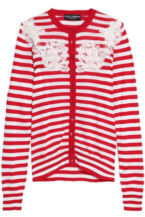 DOLCE & GABBANA Lace-paneled striped silk cardigan