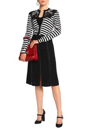 DOLCE & GABBANA Lace-paneled striped silk cardigan