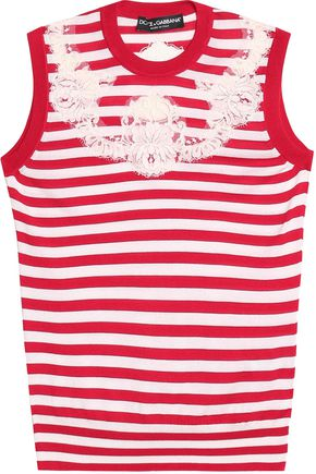 DOLCE & GABBANA Lace-appliquéd striped silk top