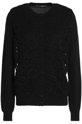 DOLCE & GABBANA Corded lace-paneled wool-blend cardigan