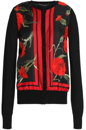DOLCE & GABBANA Floral-print silk-paneled cashmere-blend cardigan