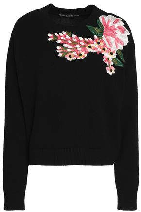 DOLCE & GABBANA Floral-appliquéd wool and cashmere-blend sweater