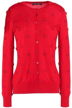 DOLCE & GABBANA Floral-appliquéd cashmere-blend cardigan