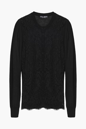 DOLCE & GABBANA Corded lace-paneled silk-blend cardigan