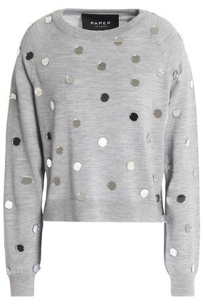 PAPER London Embellished mélange wool sweater