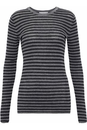 VINCE. Ribbed striped cashmere top