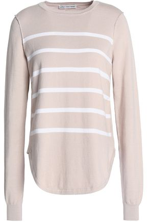 AUTUMN CASHMERE Striped cotton-blend top