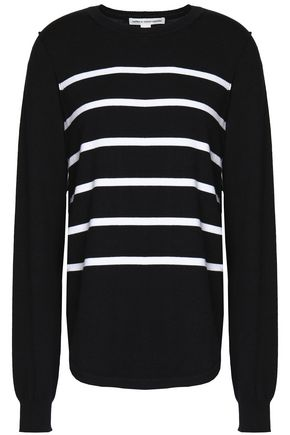 AUTUMN CASHMERE Striped ribbed-knit stretch-cotton top
