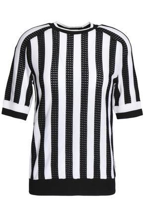 NINA RICCI Striped pointelle-knit top