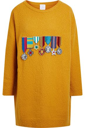 STELLA JEAN Appliquéd bouclé-knit sweater