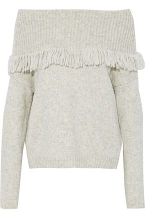LINE Off-the-shoulder fringed marled stretch-knit sweater