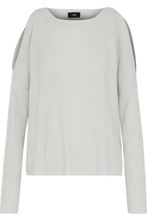 LINE Cold-shoulder ribbed-knit cashmere sweater