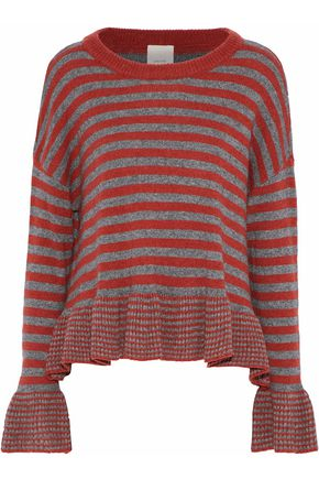 CINQ À SEPT Seren striped wool-blend sweater