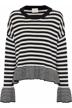 CINQ À SEPT Seren fluted striped wool-blend sweater