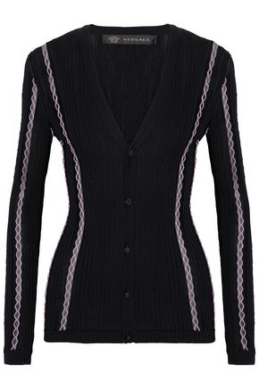 VERSACE Embroidered ribbed wool-blend cardigan