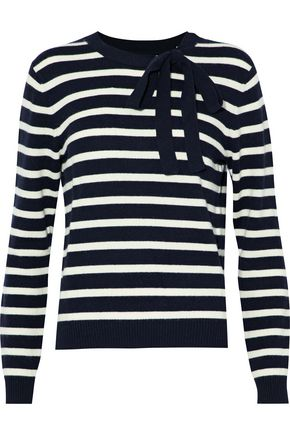 CHINTI AND PARKER Bow-embellished striped wool and cashmere-blend sweater
