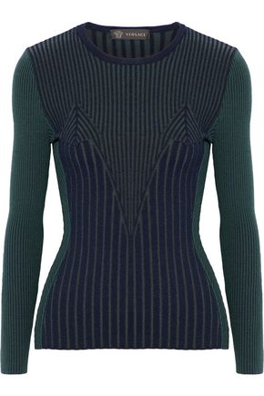 VERSACE Ribbed wool-blend sweater
