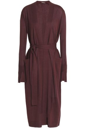 HALSTON HERITAGE Belted silk and cashmere-blend cardigan