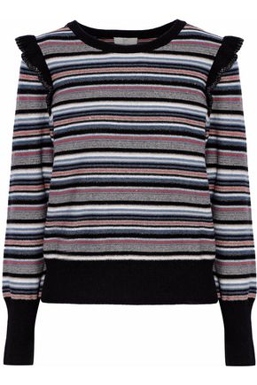 JOIE Ruffle-trimmed lamé-striped wool-blend sweater