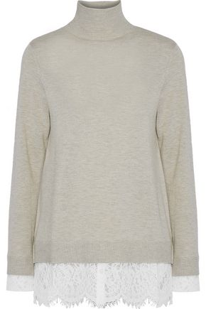 JOIE Chantilly lace-paneled knitted turtleneck sweater