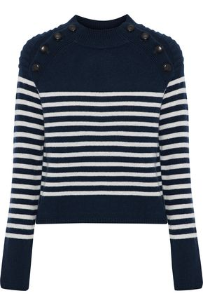 AUTUMN CASHMERE Button-detailed striped cashmere sweater