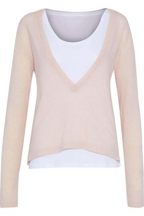 MAJESTIC FILATURES Layered merino wool and cashmere-blend top