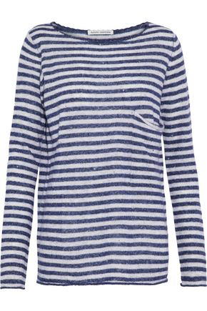 AUTUMN CASHMERE Distressed striped cashmere and silk-blend top