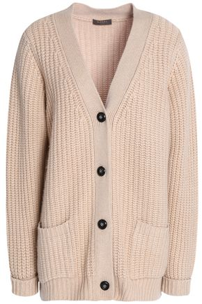 N.PEAL Ribbed cashmere and wool-blend cardigan