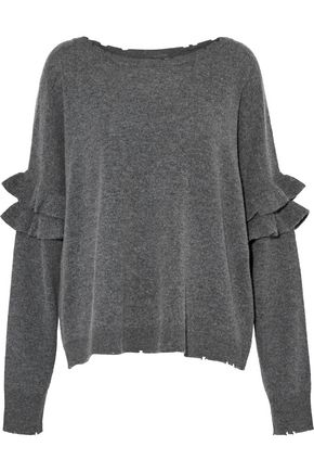 CURRENT/ELLIOTT The Ruffle distressed mélange wool and cashmere-blend sweater
