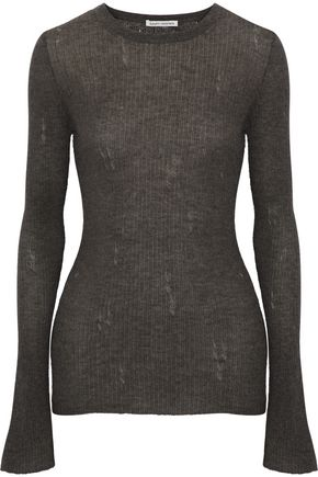 AUTUMN CASHMERE Distressed ribbed cashmere sweater