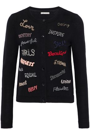 ALICE+OLIVIA Embellished embroidered wool-blend cardigan