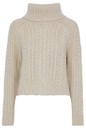 ALICE + OLIVIA JEANS Tobin cable-knit wool-blend turtleneck sweater