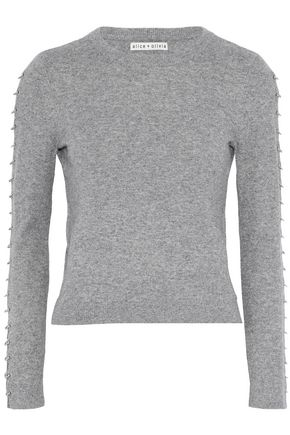 ALICE + OLIVIA Sparrow cropped barbell-embellished knitted sweater