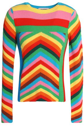 VALENTINO Striped intarsia cashmere sweater