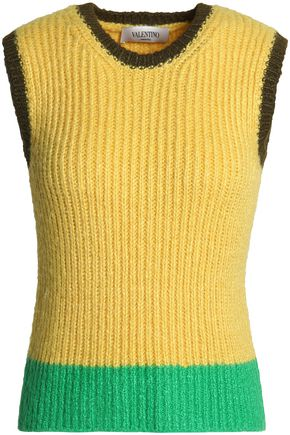 VALENTINO Color-block ribbed wool sweater