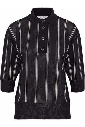LANVIN Striped piqué polo shirt