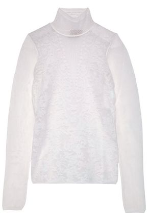 LANVIN Jacquard and open-knit wool-blend turtleneck sweater