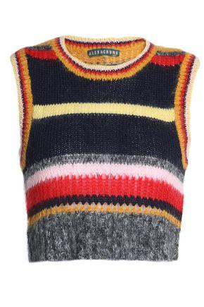 ALEXACHUNG Striped intarsia-knit sweater