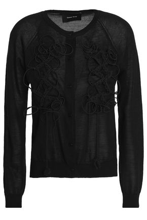 SIMONE ROCHA Appliquéd embroidered merino wool, silk and cashmere-blend cardigan